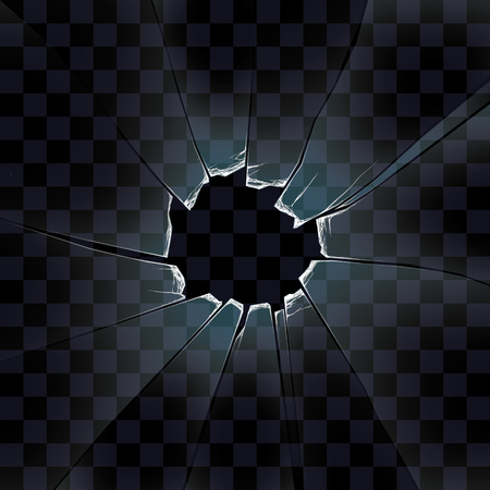 bullets: transparent vector the broken glass, the glass with a hole from a shot Illustration