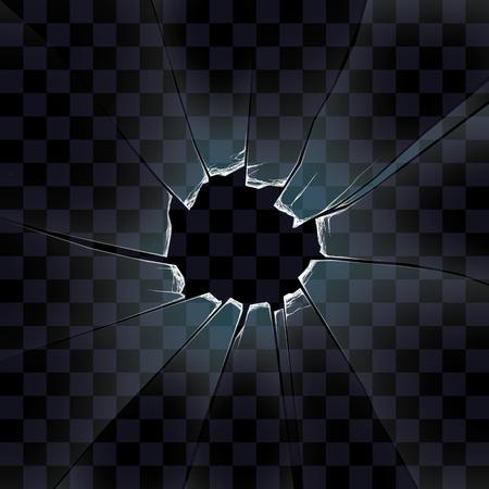 vector transparente de los cristales rotos, el cristal con un agujero de un tiro