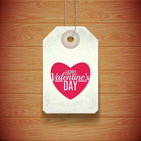tag valentine: Tag Valentine above a wooden surface. illustration