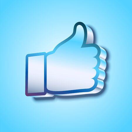 microblog: three-dimention Like symbol on blue background illustration Illustration
