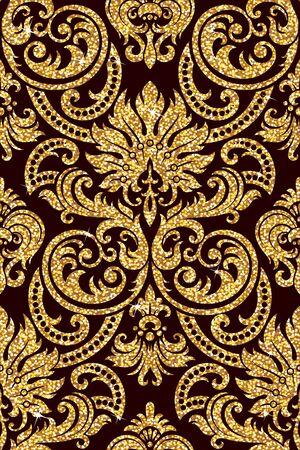textil: Fondo inconsútil de un ornamento de oro floral, papel pintado moderno de moda o textil Vectores