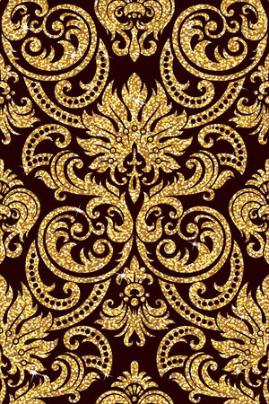 retro floral: Seamless background from a floral golden ornament, Fashionable modern wallpaper or textile Illustration