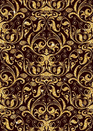 luxury background: Seamless background from a floral golden ornament, Fashionable modern wallpaper or textile Illustration
