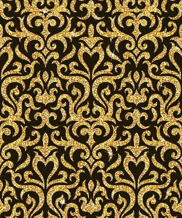 spangle: Seamless background from a floral golden ornament, Fashionable modern wallpaper or textile Illustration