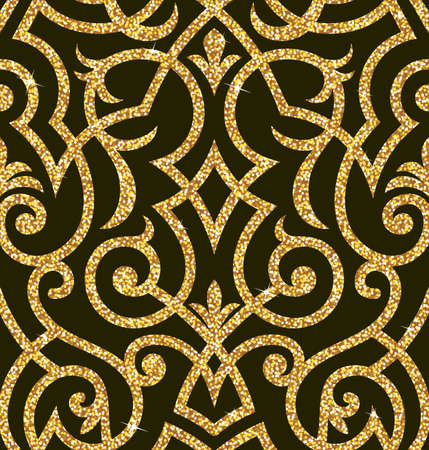 glamor: Seamless background from a floral golden ornament, Fashionable modern wallpaper or textile Illustration