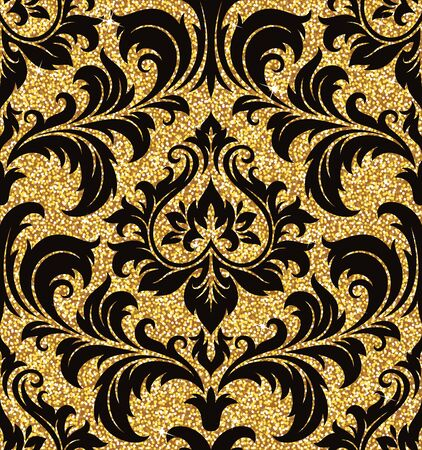 modern wallpaper: Seamless background from a floral golden ornament, Fashionable modern wallpaper or textile Illustration