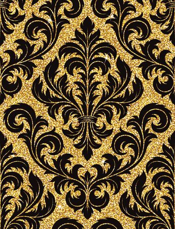 victorian pattern: Seamless background from a floral golden ornament, Fashionable modern wallpaper or textile Illustration