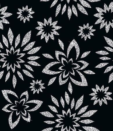 Seamless sfondo da un ornamento floreale d'argento, carta da parati moderno o tessili
