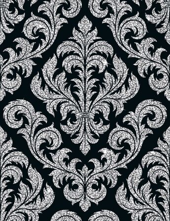 textile texture: Seamless background from a floral silver ornament, Fashionable modern wallpaper or textile Illustration