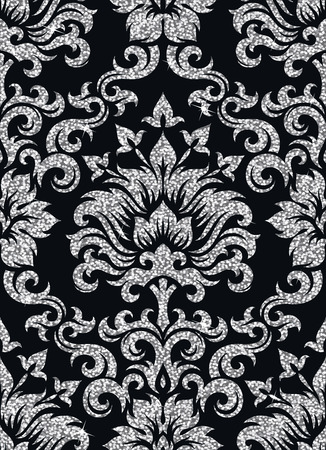 victorian pattern: Seamless background from a floral silver ornament, Fashionable modern wallpaper or textile Illustration