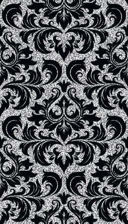glisten: Seamless background from a floral silver ornament, Fashionable modern wallpaper or textile Illustration