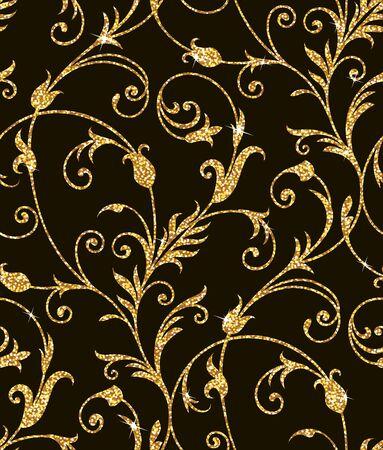 Seamless sfondo da un ornamento floreale dorato, carta da parati moderno o tessili