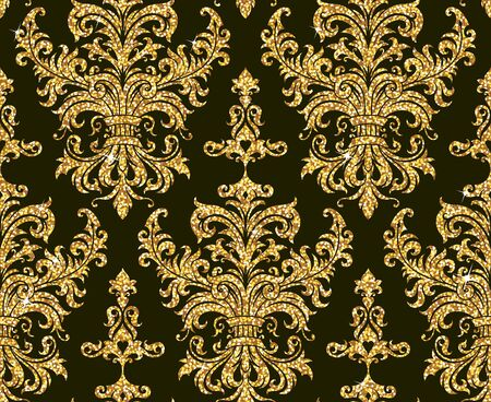 retro pattern: Seamless background from a floral golden ornament, Fashionable modern wallpaper or textile Illustration