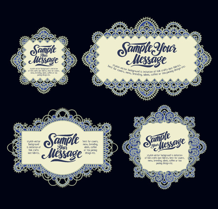 banding: stylish vector set backgrounds is imitation of folk crafts lace fabrics, best for covers, menu, brending, labels, coffee or tea packag design etc.