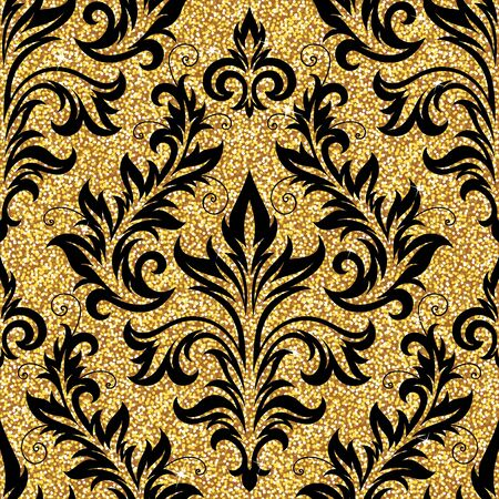 victorian vintage: Seamless background from a floral golden ornament, Fashionable modern wallpaper or textile Illustration