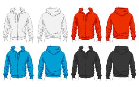 hoodie: Vector set of clothes template for visualisation branding. Promo apparel.