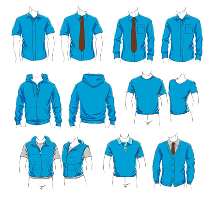 visualisation: Vector set of clothes template for visualisation branding. Promo apparel.