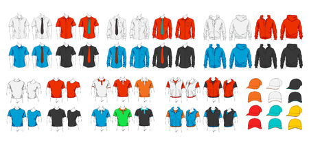 long sleeves: Vector set of clothes template for visualisation branding. Promo apparel.