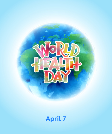 Vector illustration. World health day concept with globe.