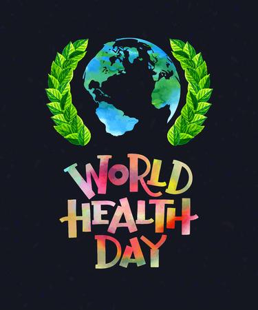 gezondheid: Vector illustratie. Wereldgezondheidsdag concept met aardbol.