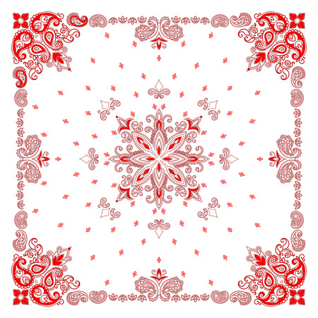 Vector ornament paisley Bandana Print, silk neck scarf or kerchief square pattern design style for print on fabric. 矢量图像
