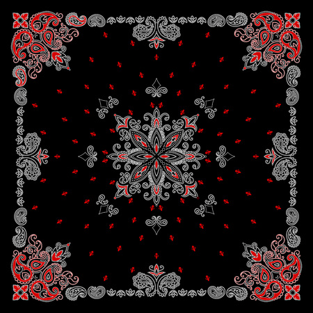 Vector ornament paisley Bandana Print, silk neck scarf or kerchief square pattern design style for print on fabric. 矢量图片