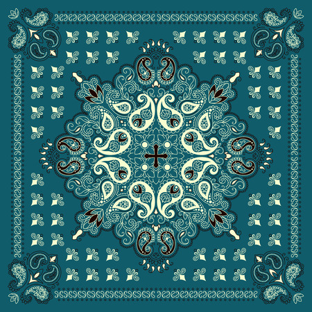 Vector ornament paisley Bandana Print, silk neck scarf or kerchief square pattern design style for print on fabric.  イラスト・ベクター素材