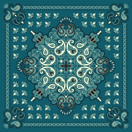 Ornamento del vector de Paisley del pañuelo de impresión, la seda de la bufanda de cuello o estilo de diseño patrón cuadrado pañuelo para la impresión sobre tela. Ilustración de vector