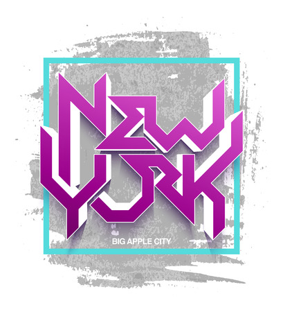 ny: Vintage t-shirt or cover print design of New York lettering. Custom type design typographic composition. Wall decor art poster. Illustration