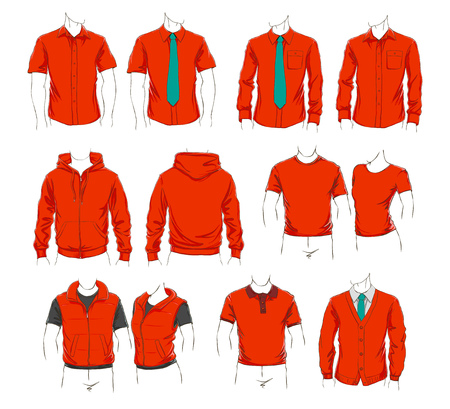 Vector set of clothes template for visualisation branding. Promo apparel.