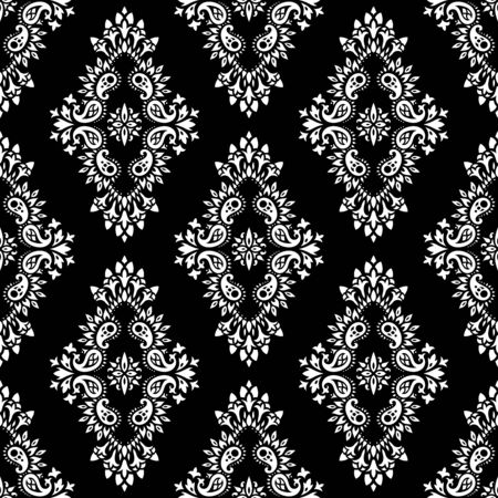 arabesque: Wallpaper in the style of Baroque. A seamless vector background whith paisley design elements. Indian floral ornament Illustration