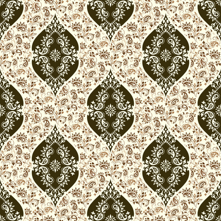 tile background: Wallpaper in the style of Baroque. A seamless vector background whith paisley design elements. Indian floral ornament Illustration