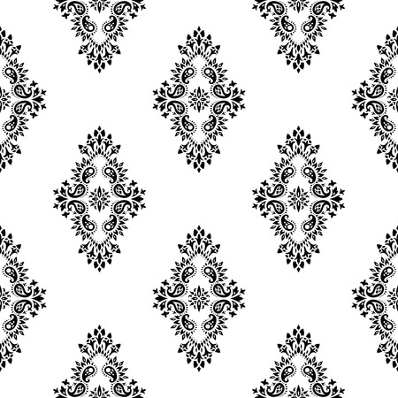 bandana western: Wallpaper in the style of Baroque. A seamless vector background whith paisley design elements. Indian floral ornament Illustration