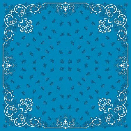 bronx: Vector ornament paisley Bandana Print, silk neck scarf or kerchief square pattern design style for print on fabric. Illustration