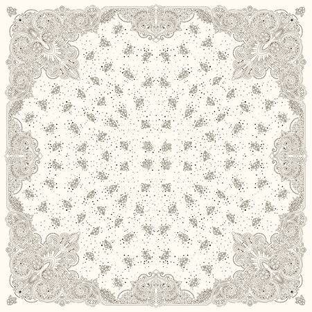 Vector ornament paisley Bandana Print, silk neck scarf or kerchief square pattern design style for print on fabric. Stock Illustratie