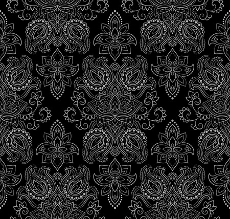 ornaments: Wallpaper in the style of Baroque. A seamless vector background whith paisley design elements. Indian floral ornament Illustration