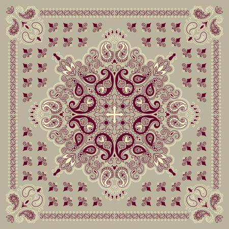 Vector ornament paisley Bandana Print, zijden sjaal of hoofddoek vierkant patroon ontwerp stijl voor print op doek.