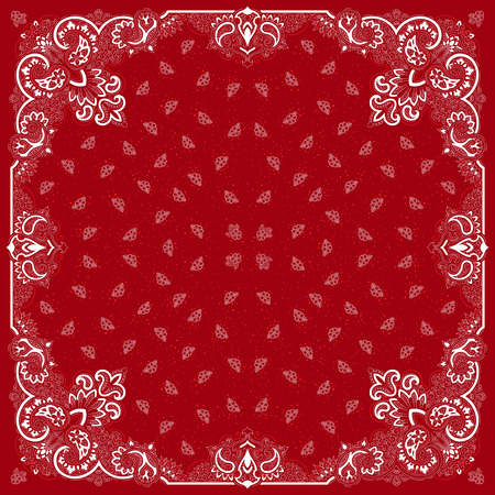 bandana: Vector ornament paisley Bandana Print, silk neck scarf or kerchief square pattern design style for print on fabric. Illustration
