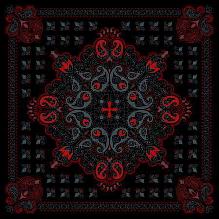 silk scarf: Vector ornament paisley Bandana Print, silk neck scarf or kerchief square pattern design style for print on fabric. Illustration