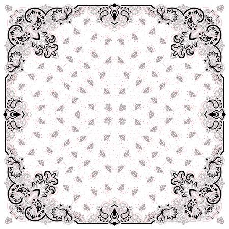 Vector ornament paisley Bandana Print, zijden sjaal of hoofddoek vierkant patroon ontwerp stijl voor print op doek. Stock Illustratie