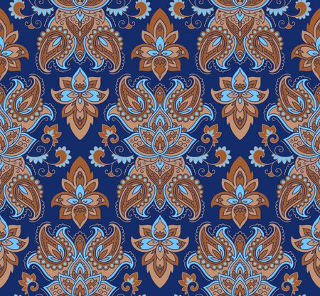 kerchief: Wallpaper in the style of Baroque. A seamless vector background whith paisley design elements. Indian floral ornament Illustration