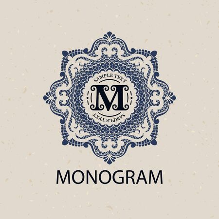 vintage fashion: Vintage monogram frame template flourishes calligraphic elegant ornament lines. Business sign, identity for Restaurant, Royalty, Boutique, Hotel, Heraldic, Jewelry, Fashion and other illustration Illustration