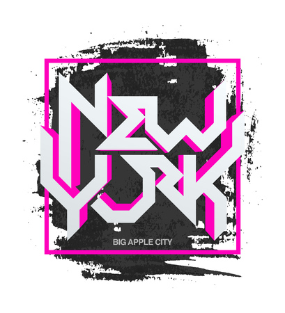 apparel: Vintage t-shirt or cover print design of New York lettering. Custom type design typographic composition. Wall decor art poster. Illustration