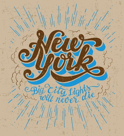 wall decor: Vintage t-shirt or cover print design of New York lettering. Custom type design typographic composition. Wall decor art poster. Illustration