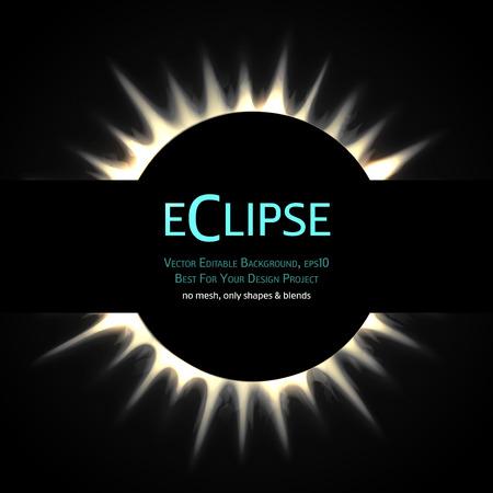 phenomenon: Vector Editable Background. Total eclipse of the sun.