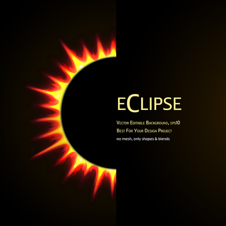 lunar eclipse: Vector Editable Background. Total eclipse of the sun.