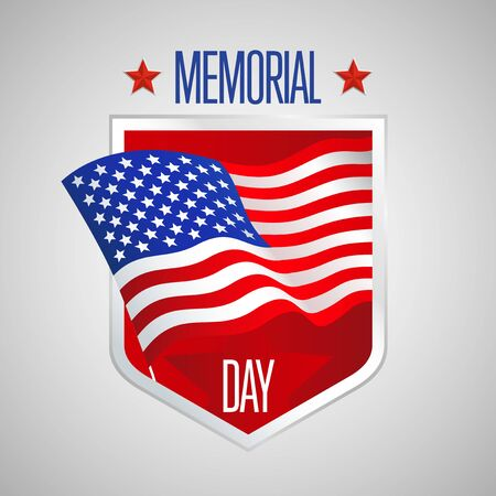 patriotic background: Memorial Day design with United States of America Flag, vector illustration
