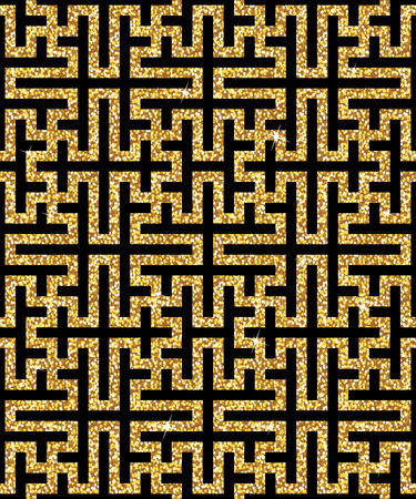 spangle: Seamless background from an oriental golden swastika ornament. Fashionable modern wallpaper or textile Illustration