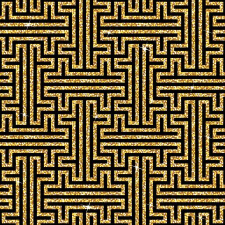 swastika: Seamless background from an oriental golden swastika ornament. Fashionable modern wallpaper or textile Illustration