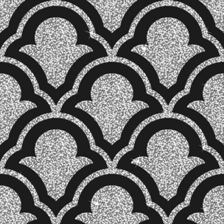 glisten: Seamless background from a silver ornament, Fashionable modern wallpaper or textile